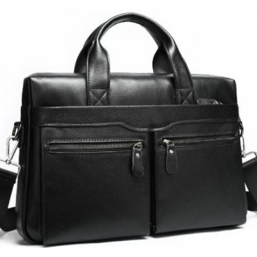 Современная мужская кожаная черная сумка для офиса
