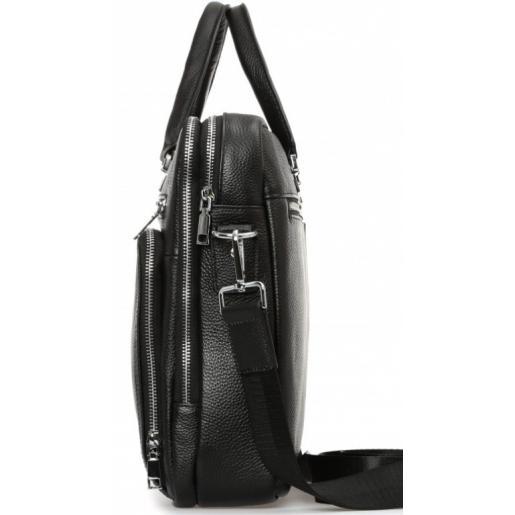 Престижная мужская кожаная сумка на два отделения Royal 021A-1U Черный