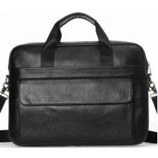Мужская черная кожаная сумка-портфель для документов и ноутбука Tiding 1131AU