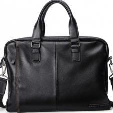 Многофункциональная мужская деловая кожаная черная сумка