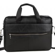 Деловая мужская черная кожаная сумка для ноутбука и документов Bx1127AU