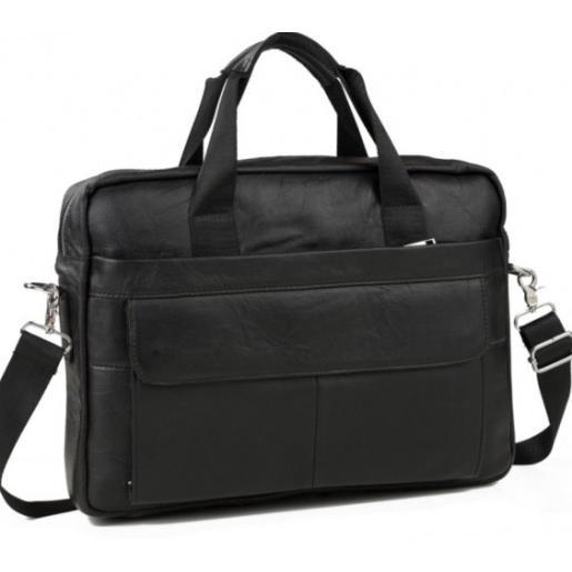 Деловая сумка мужская кожаная черная