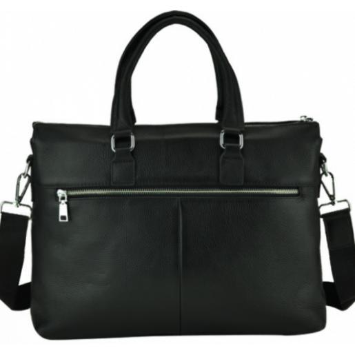 Мужская черная кожаная сумка делового стиля