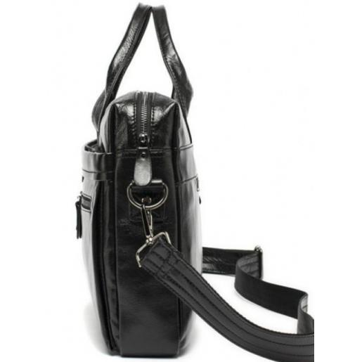 Черная кожаная мужская сумка для ноутбука и документов