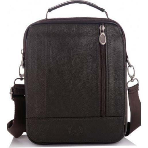 Мужская кожаная сумка Leather NM24-213C-1U Коричневый