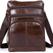 Стильная винтажная коричневая мужская кожаная сумка через плечо