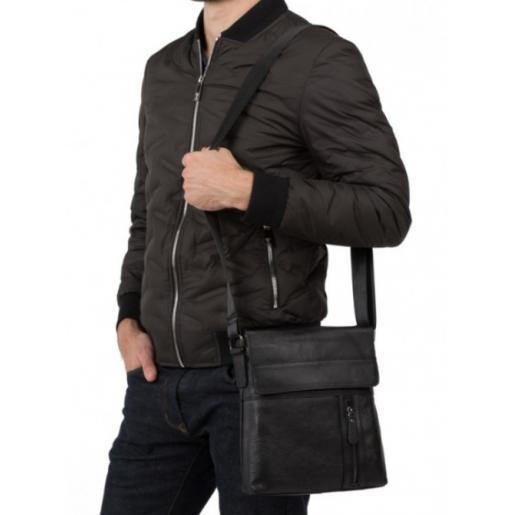 Кожаная чёрная мужская сумка M38-1713AU Чёрный