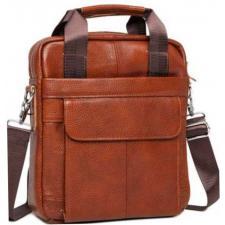 Мужская сумка-мессенджер кожаная M38-8861LBU Коричневый