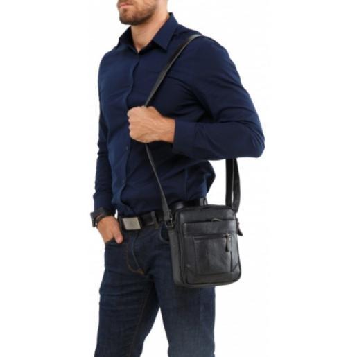 Мужская кожаная сумка на плечо A25-223AU Черный