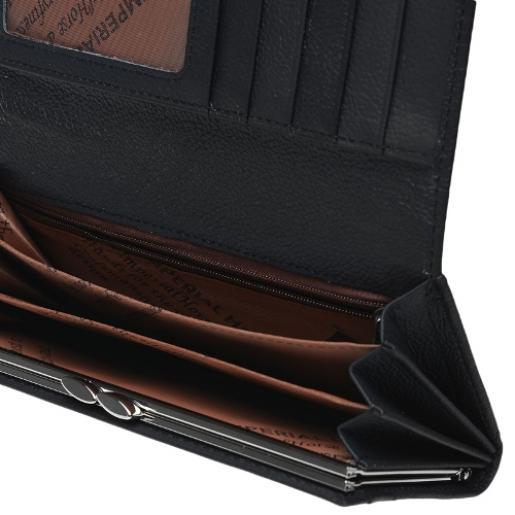 Кожаный женский кошелек 00-01BD Черный