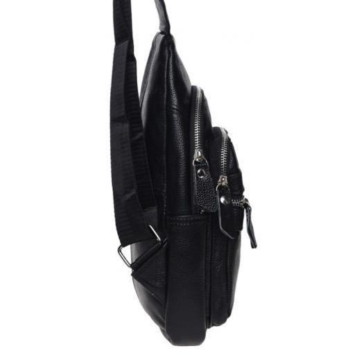 Кожаный мужской рюкзак на плечо черный 13035KO-834
