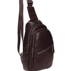 Мужской кожаный рюкзак слинг на плечо коричневый 1330KO-1
