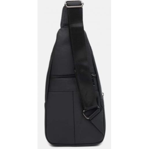 Мужской кожаный рюкзак на плечо черный 1685KO-1