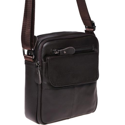 Мужская кожаная сумка на плечо Leather 100-316 Коричневый