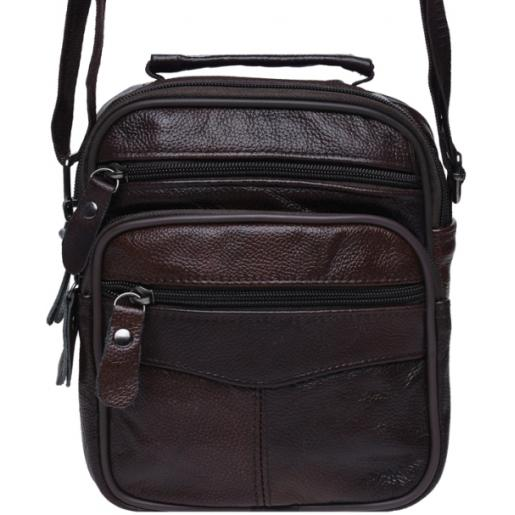 Мужская кожаная сумка K10-3b Коричневый