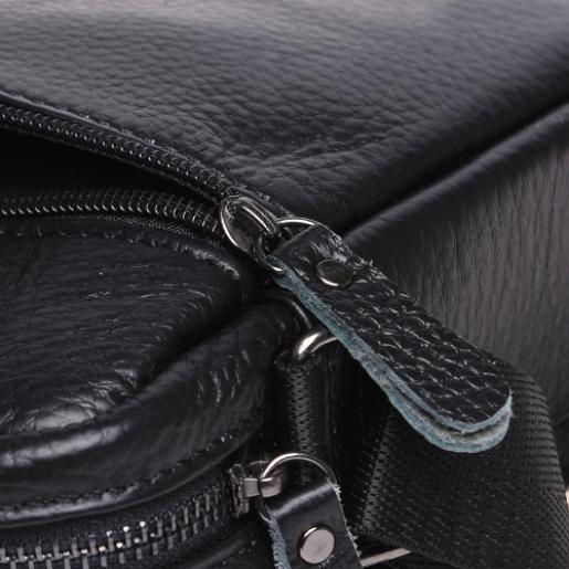 Мужская кожаная сумка - мессенджер Borsa 22-3 Черный