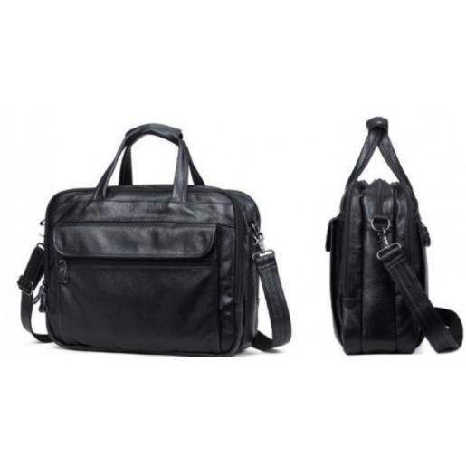 Мужская кожаная сумка на три отдела Solier 9001АU Черный