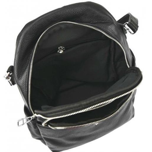Женский черный кожаный рюкзак 20U20