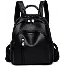Женский кожаный рюкзак 85AU570 черный