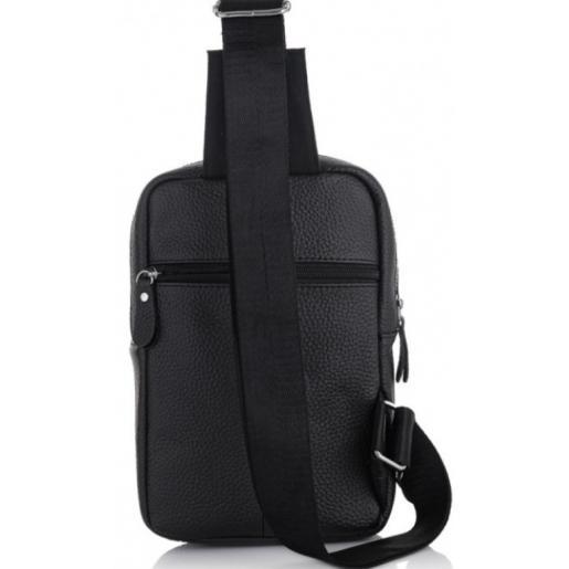 Мужской рюкзак кожаный через плечо Tiding 6315AU Чёрный