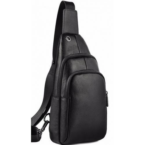 Мужской кожаный рюкзак-слинг Tiding A25F-001-1U Черный