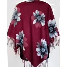 Теплый женский платок Cashmere KT40-6-2 Бордовый