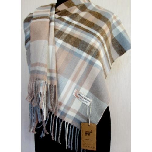 Женский теплый шарф из кашемира KT432 Бежевый