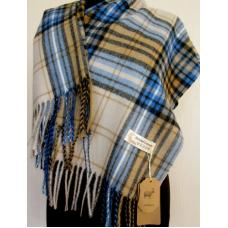 Женский теплый шарф в клетку KT433 Бежевый