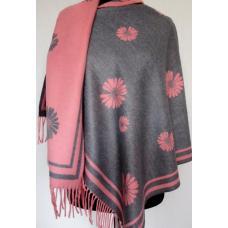 Женский теплый палантин Cashmere KT307-4 Розовый