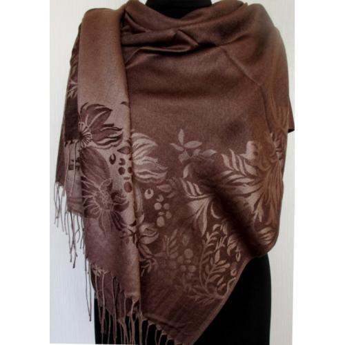 Двусторонняя женская шаль с  рисунком 214T Коричневый