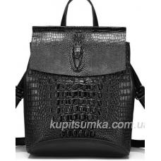 Городской чёрный рюкзак из натуральной кожи, с тиснением