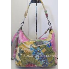 Женская кожаная сумка с цветочным принтом