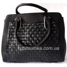 Женская деловая сумка на три отделения из кожзаменителя
