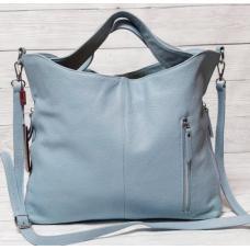 Кожаная сумка женская голубого цвета 899N