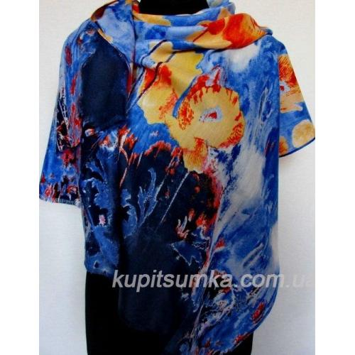 Женский палантин с цветочным рисунком синий 128Т