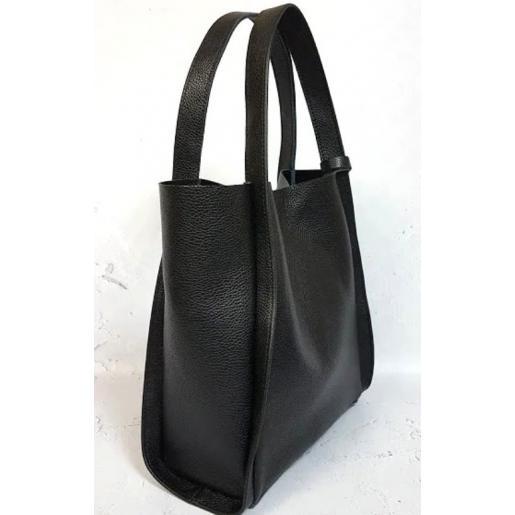 Кожаная женская сумка черная шоппер Diana & An 79-EK4