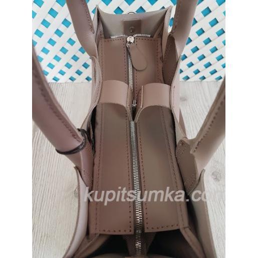 Женская кожаная сумка в деловом стиле Nicoletta матовое латте
