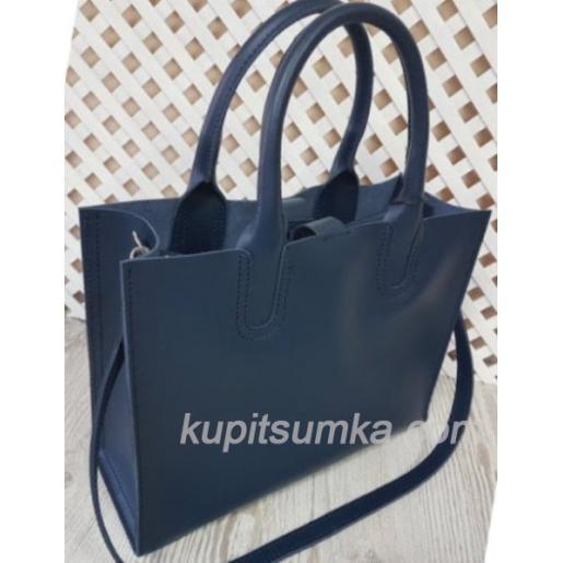 Женская кожаная сумка в деловом стиле Nicoletta синяя матовая