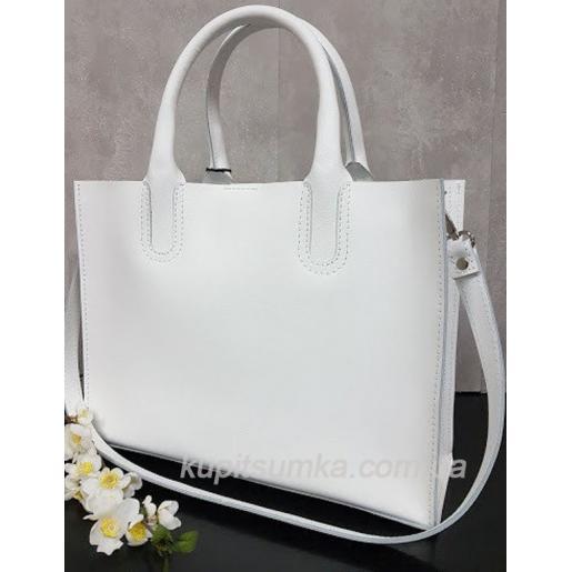 Женская кожаная сумка в деловом стиле Nicoletta белая