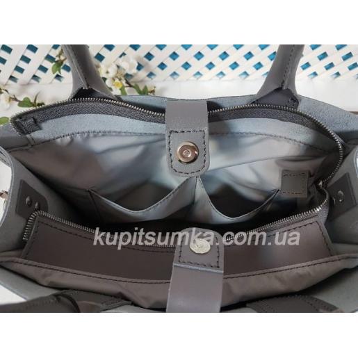 Женская кожаная сумка в деловом стиле Nicoletta Серая матовая