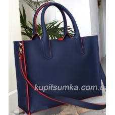 Женская кожаная сумка в деловом стиле Nicoletta сине-красная