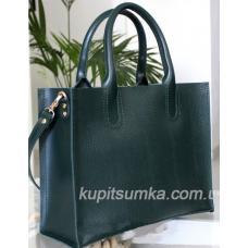 Женская кожаная сумка в деловом стиле Nicoletta тёмно-зелёная под рептилию