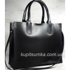 Женская кожаная сумка в деловом стиле Nicoletta Черная матовая