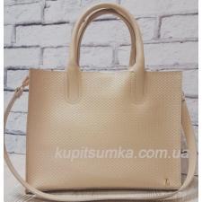 Женская кожаная сумка в деловом стиле Nicoletta Бежевый
