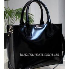 Женская кожаная сумка в деловом стиле Nicoletta чёрный глянец
