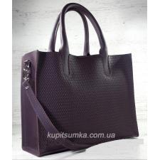 Кожаная сумка в деловом стиле Nicoletta сливового цвета