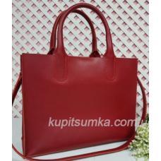 Женская кожаная сумка в деловом стиле Nicoletta красная матовая