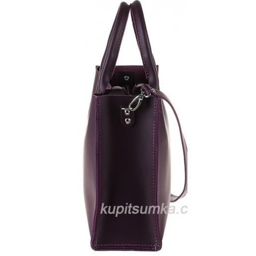Женская кожаная сумка в деловом стиле Nicoletta Баклажановая