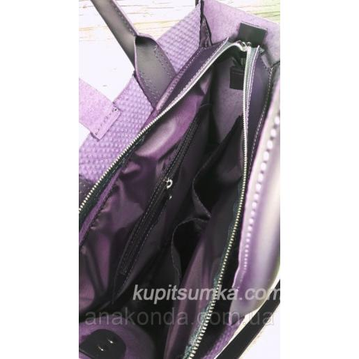 Кожаная женская сумка фиолетовая Nicoletta 30A-43