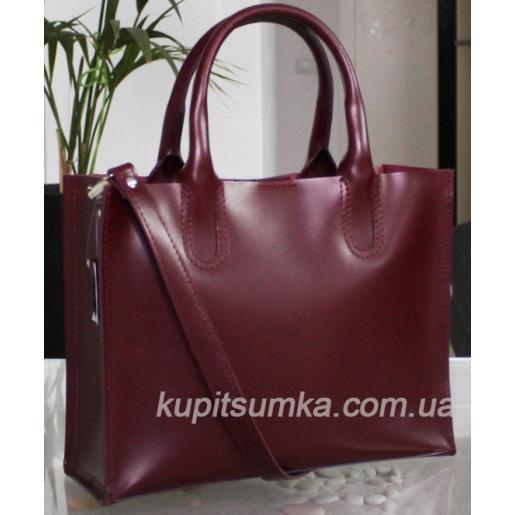 Кожаная сумка в деловом стиле Nicoletta Вишневая